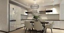 3 к.кв. на ул. Гоголя (95 кв.м) / Этот проект 3к.кв. (95 кв.м) объединил все лучшее от классического и современного стилей. Просторная кухня-гостиная с обоями на стенах в сочетании с кофейной декоративной штукатуркой дополняется белым кухонным гарнитуром без ручек. Спальни для супругов отдельные. Мужская спальня с отделкой из дерева выглядит очень брутально. Спальня заказчицы в светлых оттенках, а изголовье кровати выделено мягкими стеновыми панелями со стяжкой.