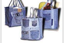 Old Denim - Tasker og punge / Tasker og punge lavet af gamle cowboybukser.
