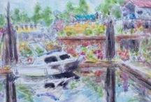Plein air watercolor / Painting in the great outdoors in watercolors by Paula O'Brien and other artists.