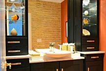 Half Bath Remodel / Bathroom Remodel Milton, DE. Wolf Designer Cabinetry l Lint Tile Accent wall l Granite Countertop l Escale Raised Bowl Sink  www.bsdshowroom.com #bsdshowroom
