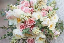 Wedding flowers / Orchids, peonies, roses and tulips? Pink, cream, white and gold/ peach - greens to offer contrast?