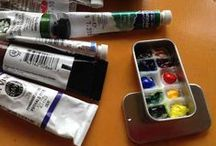Watercolor travelbox / Make your own small watercolour travel paintbox or try some of these readymades for your plain air and urban sketching needs. Sketchkits.
