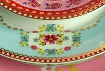 Pretty colorful china / Vintage and antique china, Staffordshire shepherdess, Fiestaware, colourful and pattern mix crockery