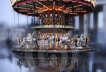 Vintage carousel / Vintage carousels I've come across on my travels and online. Carousel animals carbed in gilded wood.