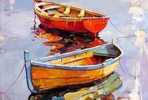Boats, ships, sea / Boats in art, ships, sailboats, rowboats, tugboats, fishing boats, fishing harbors, painting, photography by Paula O'Brien and others.