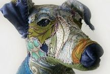 Animals in art / Pets, cats, dogs, cows, chickens, fish, birds in painting, sculpture, art textiles