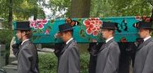 Death with style / Green burial, end of life, dying with humor and dignity, go out in style, hand painted coffin casket, contemporary funeral with humour and color