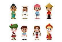 """People of the World Vector Pack / Pack of 11 vector illustrations with """"people of the world"""" theme from VectorVice."""