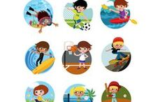 Outdoor Kids Activities Vector Pack / This pack includes 11 high detailed Outdoor Kids Activities vectors, ready to be used in your designs. We have characters swimming, playing basketball, riding a bike, surfing, riding a horse, playing football or volleyball. All 11 vectors are 100% original, hand drawn and royalty free.