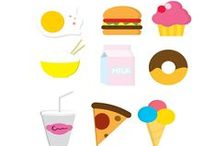 Food Icons Vector Pack / Are you hungry and you need to eat some vectors? No problem, we have everything: hamburgers, soda, donuts, pizza, milk, eggs, fish, rice, hot dogs, cup cakes, even ice cream. The food vectors are royalty free, 100% original and hand drawn