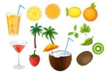 Summer Cocktails Pack / To survive a hot summer day, your designs need a fresh summer cocktail, like a cosmopolitan, orange cocktail, a coconut cocktail or even an ice tea. Keep your designs fresh with 10 summer cocktails royalty free vectors. The vectors are 100% original and hand drawn