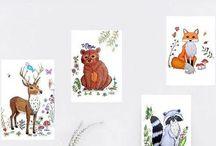 Lumisadesign Woodland animals decor / Hand drawn  illustrations of woodland animals made by  Lumisadesign
