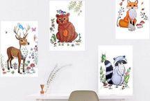 Woodland animals nursery and kids room decoration / Lovely decorations for a Woodland nursery or cute kidsroom