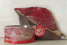 My works- the reds / Items for order and sale... Megvásárolható vázák és tálak By Ildikó