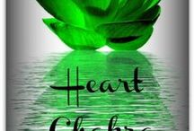 """Heart Chakra ~ I Love / """"Anahata"""" The 4th Chakra - located at the center of your chest - associated with the element of air and represents issues of love, acceptance, deservingness, ability to receive, trust and forgiveness/loss. Bridges the lower chakras to the upper ones - vibrates the color green. It is through the heart that the spiritual world is made manifest!  Corresponds to the 12th Chakra of Ascension / by Shannon Blatchford"""