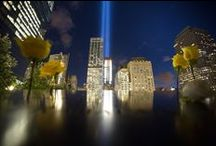 Tribute In Light / The Tribute in Light is an annual public art memorial project. 88 high-powered light bulbs are assembled in two 48-foot squares to echo the footprints of the original towers and illuminated from the roof of a lower Manhattan parking garage.  / by 9/11 Memorial & Museum