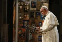 Pope Francis / Pope Francis visits the National September 11 Memorial & Museum on September 25, 2015 to pay his respects to the 2,983 victims of the September 11, 2001 and the February 26, 1993 terror attacks at the World Trade Center.  Pope Francis also lead a Multireligious Meeting for Peace inside the 9/11 Memorial Museum, gathering with local representatives of the world religions to give a common witness to peace. / by 9/11 Memorial & Museum