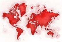 maps in red by elevencorners / examples of elevencorners map designs in red - world map