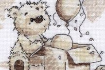 BORDUREN BEREN - Cross stitch Bears / Best Friend Forever en andere beren