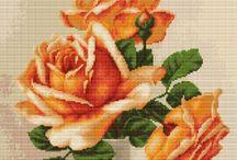 BORDUREN ROZEN - Cross stitch Roses / Mooie rozen.