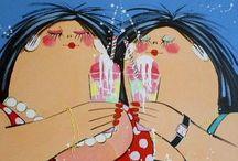 DIKKE DAMES - El van Leersum Fat Ladies / El van Leersum schilderijen.
