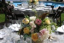 """Adamson House, Malibu,CA Garden Wedding / A romantic garden wedding with English Garden Roses, Dahlias, peonies, lavender, herbs & grasses used to give a fresh """"picked"""" out of the field look."""
