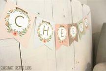 Girlandy / Girlandy z krepu, kvetov, filcu, látky, papiera, ...