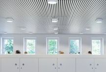 Metal Ceilings / Metal ceilings in aluminium, steel, copper and stretch metal, in types ranging from linear and wide panel to open cell, curved and tile, the only limits are in your imagination. Hunter Douglas Architectural.
