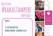 Pinterest-kilpailu: Mun #rakastampere / 1. Luo Pinterestiin taulu, jonka nimessä esiintyy #rakastampere. 2. Kokoa tauluun kuvia vierailtavista putiikeista, kahviloista tai palveluista Rakas Tampere -tapahtumaa varten 17.5. mennessä ja tutustu muiden tauluihin. 3. Uudelleenpinnaa tauluusi vähintään yksi kuva Rakas Tampereen Pinterestistä. 4. Jää jännittämään kilpailun lopputulosta ja voittaessasi nautiskele mukana olevien yritysten palveluista elämyspaketilla (arvo noin 100€). Ilmoitamme voittajan Rakas Tampereen somessa viikolla 21.
