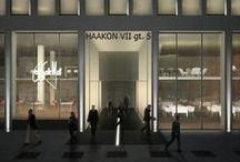 Haakon VII, Oslo Norway / Exterior Facade Office Lighting