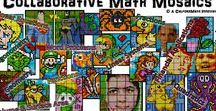 """Colouring by..."" Math Mosaics / Engaging, Collaborative Whole-Class Colouring Quests!  Each student's worksheet represents a small section of the larger mosaic.  The big picture comes together as students' individual efforts combine.  It's simple:  Calculate, Colour, Cut, Combine!"