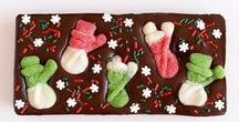 Christmas Chocolate Gifts / Premium customizable chocolate bars and squares with beautiful toppings.  Themed for Christmas and Chanukkah.  Perfect as gifts, stocker stuffers and for Secret Santa parties.