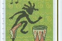 IGŁĄ I...: haft krzyżykowy afro