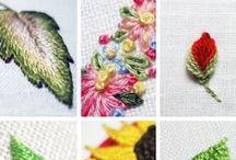IGŁĄ I...: haft płaski roślinność