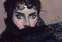 Kobieta w czerni - malarstwo / malarstwo
