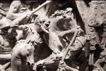 Sarcófago de Portonaccio / Detalles del sarcófago Portonaccio.  Autor. Desconocido Fecha: 180 d.C.  Material:mármol Dimensiones:153 cm × 273 cm × 137 cm Ubicación:Museo Nazionale Romano (palazzo Massimo alle Terme), Roma.