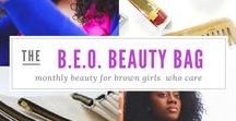 B.E.O. Beauty Bag for Brown Girls Subscription / What is a B.E.O. Beauty Bag? It's our monthly subscription of clean and safe beauty products that we have dubbed brown girl friendly.  Get 4-6 mostly full or deluxe sample sized products PLUS a DOPE eco-friendly makeup bag delivered to you each month.  You can change the way you shop for beauty products. You can be concious of what you use on your body. You can become a B.E.O. - Beauty Experience Officer.
