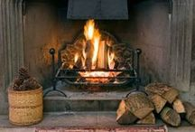 ♡ Fireplace Styling, Surrounds, Fire Dogs & Andirons...