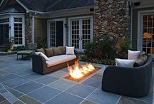 Patio ideas / Ideas for backyard patio, fire pit, and water wall.