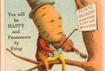 Vegetable and Fruit Folk From Earlier Days / vintage seed packet, trade card, and advertising anthropomorphic characters