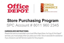 CORPORATE DISCOUNTS / Office Depot offers Georgia Commerce Club members and their members' employees the chance to take advantage of savings on office supplies. The Office Depot personal and company discount programs offer exclusive savings on office supplies, computer accessories, printing services, school supplies and much more. No minimum order is required and can be done as frequently or infrequently as needed. Enrollment is FREE.