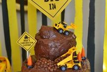 Construction Birthday Parties / Construction and Lego Birthday Party ideas, inspiration, cake, decorations, invitations, favor bags - Lego, blocks, tractor, bulldozer, dump truck, hard hat, dirt, truck, big rig, toolbox - easy, DIY, homemade / by CountingCandles.com