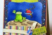 Cards_Space/Aliens / Out of this world  theme cards made using Whimsie Doodles Clear Stamps