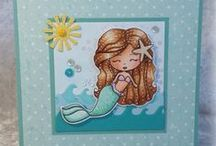 Cards_Mermaid / Mermaid theme cards made using Whimsie Doodles digital stamps