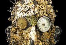 Assemblique™ Masks / Assemblage found object masks with gears, typewriter parts, adding machine parts, clock parts, sewing machine parts, and more!