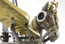 Assemblique™ Sculptures / Found Object Sculptures using Clock Parts, Antique Sewing Machine Parts, Adding Machine Parts, Typewriter Parts, and other broken or found vintage machine parts