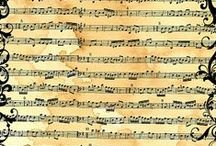 Music notes/Letters backgrounds, Noder/Bogstaver baggrund / Music sheets, newspapers, letters, handwriting, Sheet music art