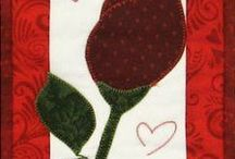 Love Hugs & Kisses || Beginner Friendly Applique Patterns / Valentine's Day quilted wall hanging patterns. Beginner friendly fusible applique mini quilt patterns.