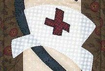 Professional Cuteness || Beginnner Friendly Applique Patterns / These are small quilted wall hangings for teaching and nursing.  These mini quilts are perfect for those that love applique and are beginner quilter friendly projects!