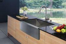 Farmhouse Sinks / Single basin, apron styles, modern stainless steel, composite sinks